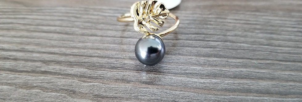 Adjustable Monstera Ring w/Pearl (Gold Filled)