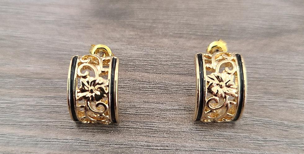 Plumeria Half Moon Stud Earrings