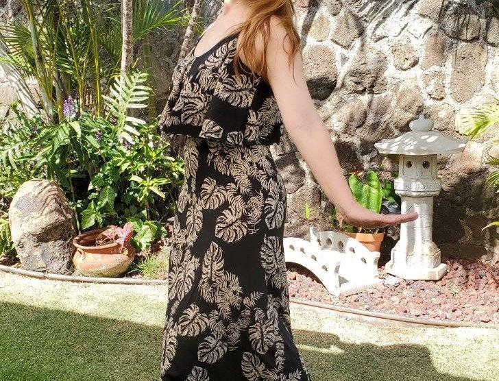 Tan/Black Fern Patttern Dress (Long)
