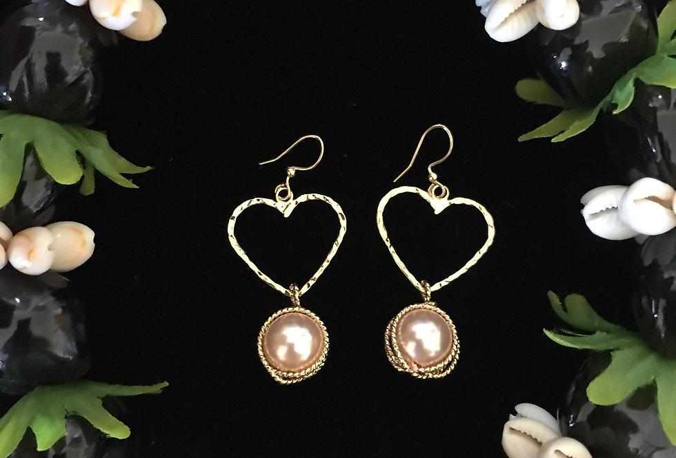 Heart Wrapped Pearl Earrings