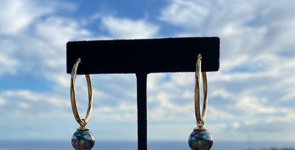 """Peacock Pearl 1"""" Hoop Earrings (Gold Filled)"""