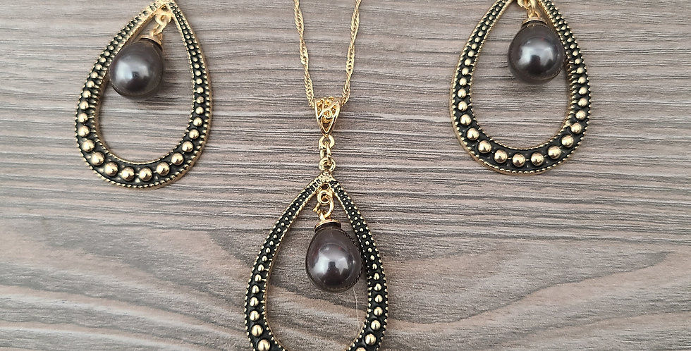Tribal Oval Hoops Twisted Necklace Chain w/Pearl and Earring Set (24-26in)