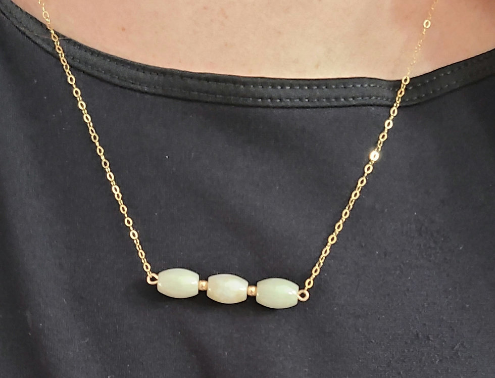 "3 Jade Bar 18"" gold filled chain"