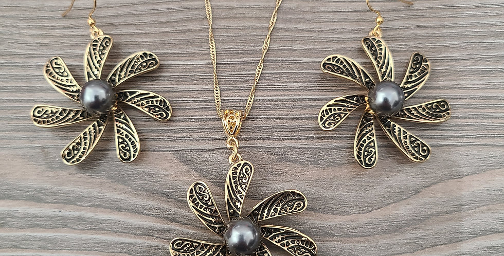 """Tribal Plumeria Twisted Necklace Chain w/Pearl and Earring Set (24"""" to 26"""")"""
