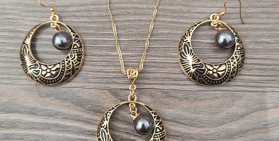 Tribal Hoop Twisted Necklace Chain w/Pearl and Earring Set (24-26in)