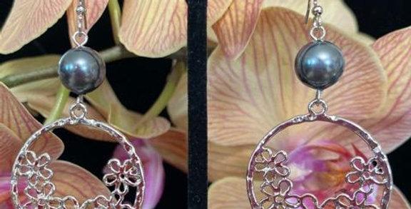 Silver Tiare Flower Hoop Earrings