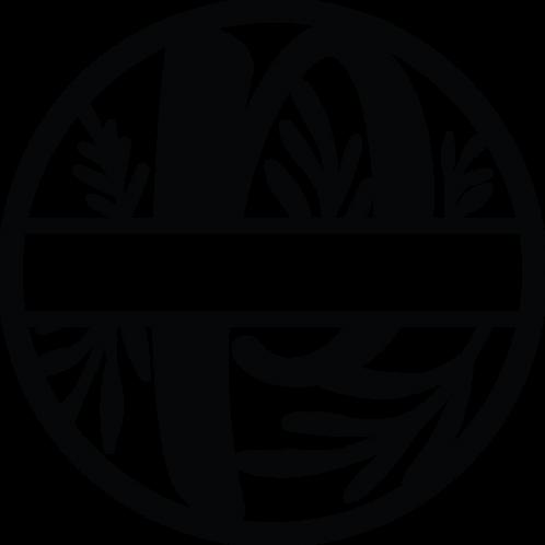 Floral Split Monogram Letter - P