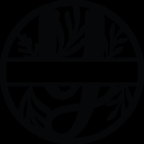 Floral Split Monogram Letter - Y