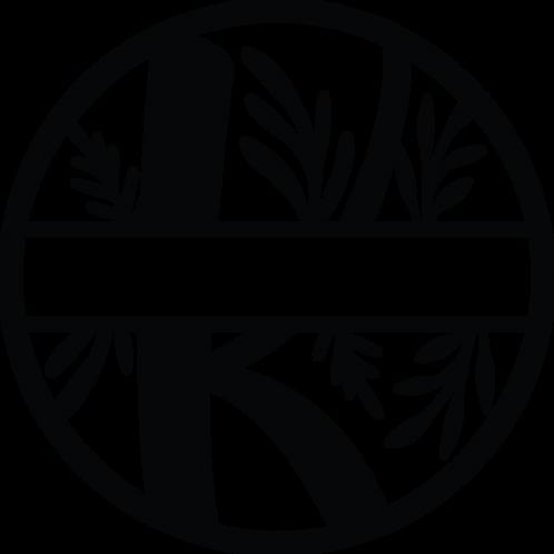 Floral Split Monogram Letter - K