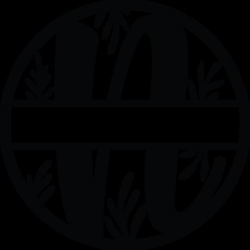 Floral Split Monogram Letter - N
