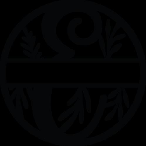 Floral Split Monogram Letter - E