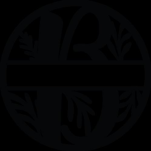 Floral Split Monogram Letter - B