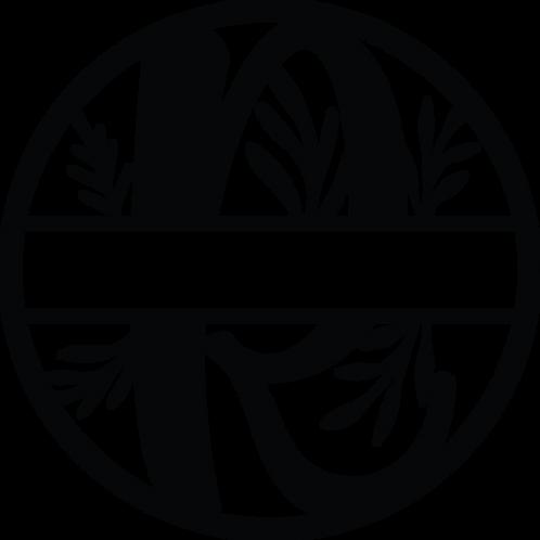 Floral Split Monogram Letter - R