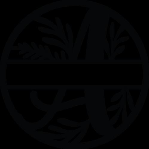 Floral Split Monogram Letter - A