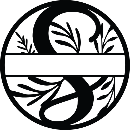 Floral Split Monogram Letter - S