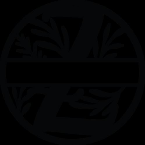 Floral Split Monogram Letter - Z