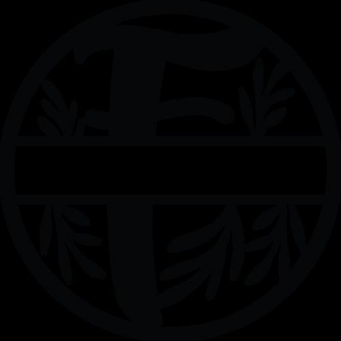 Floral Split Monogram Letter -F