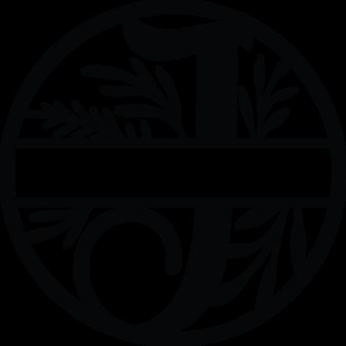 Floral Split Monogram Letter - J