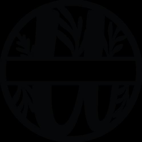 Floral Split Monogram Letter - U