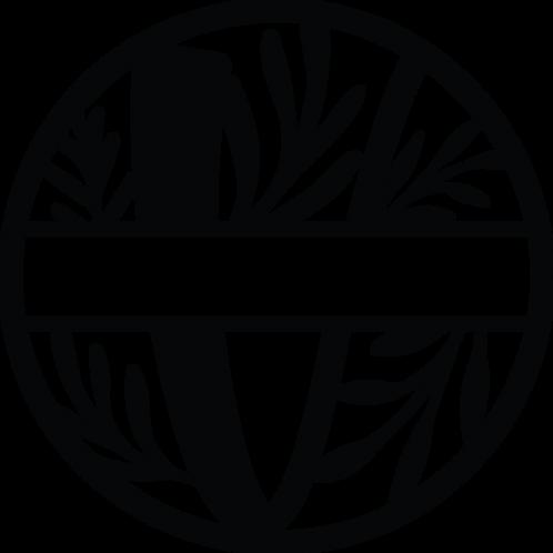Floral Split Monogram Letter -V