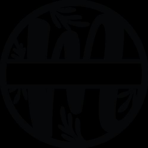 Floral Split Monogram Letter - M