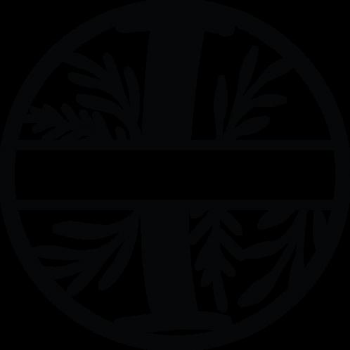 Floral Split Monogram Letter - I