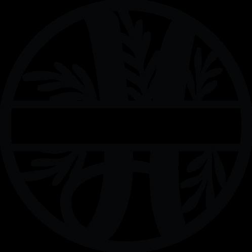 Floral Split Monogram Letter - H