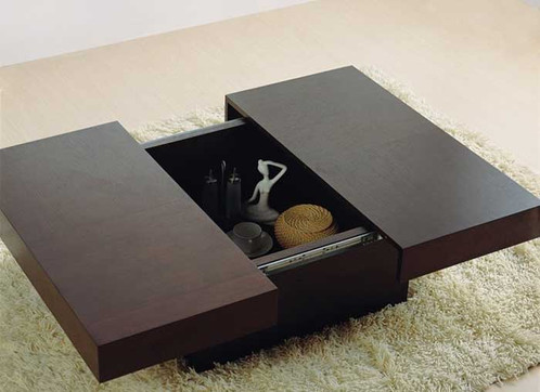 Sliding Top Dual Purpose Coffee Table Designed With The Finest Wood To Hold Both Decor And Storage Compartments