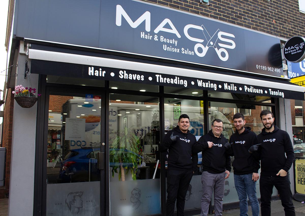Mac's hair and beauty salon team outside