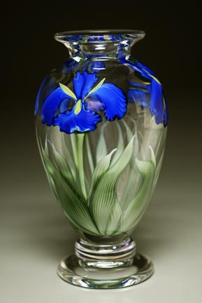 Cobalt Iris Footed Clear Vase CFweb.jpg