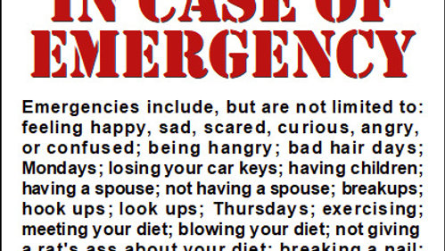 Emergency - MUST BE PURCHASED WITH WINE