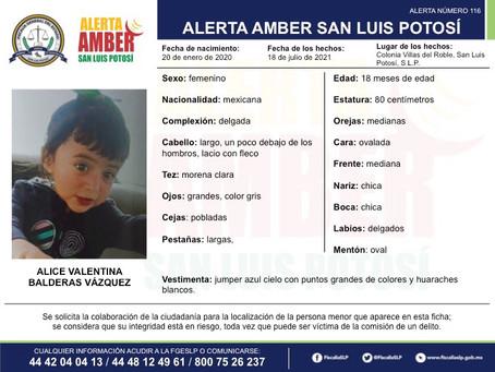 Activa FGE Alerta Amber para localizar a Alice Valentina Balderas Vázquez