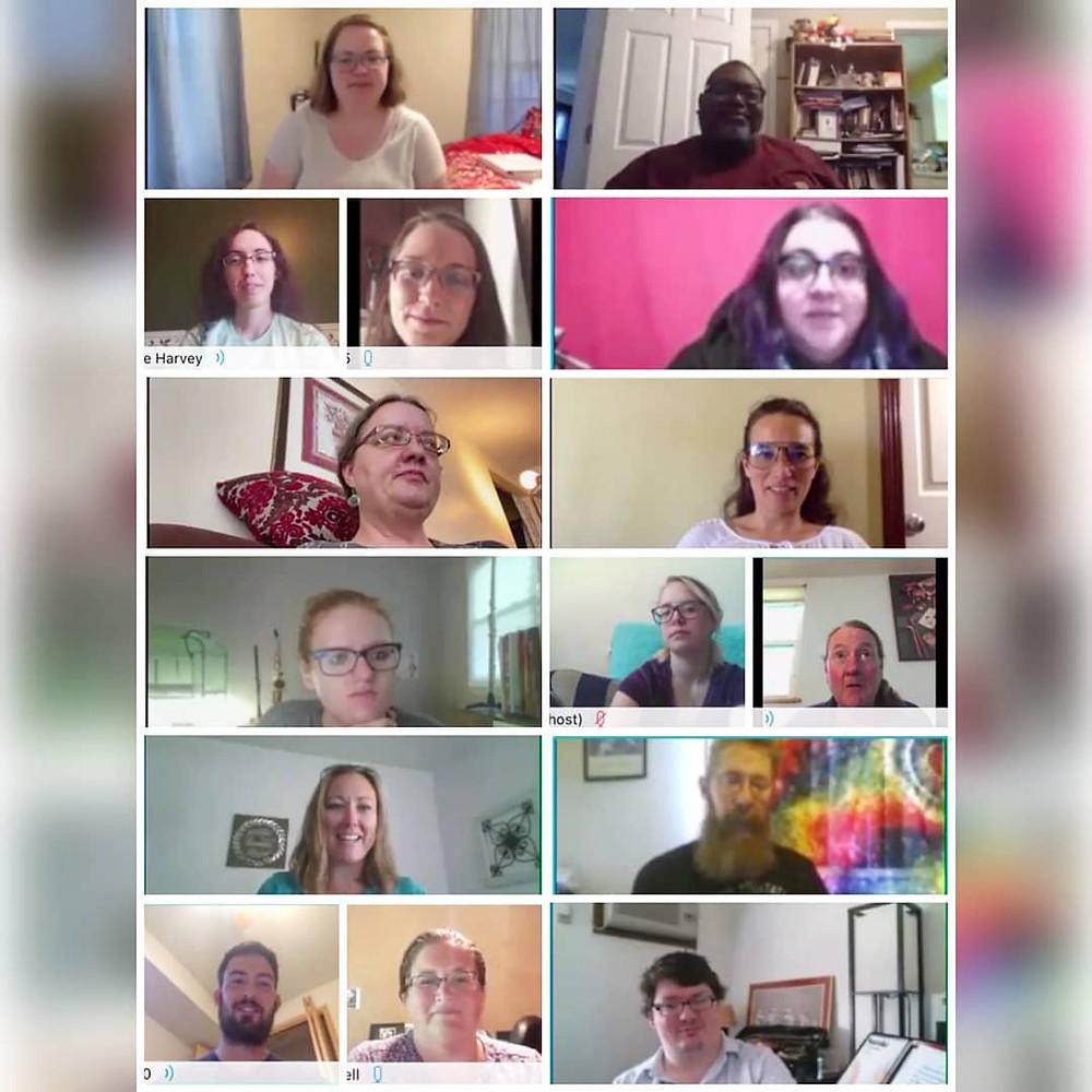 Screenshot of a virtual teachers' meeting, with each Academy teacher pictured