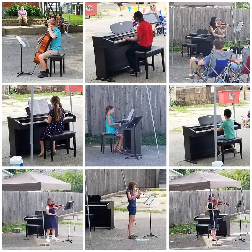 Photo montage of students playing instruments outside in the Academy parking lot