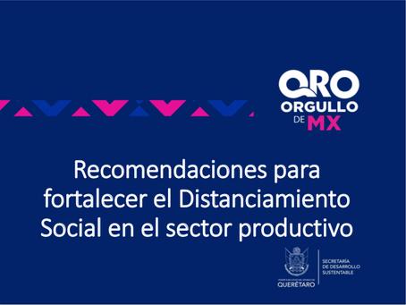 Recomendaciones para fortalecer el Distanciamiento Social