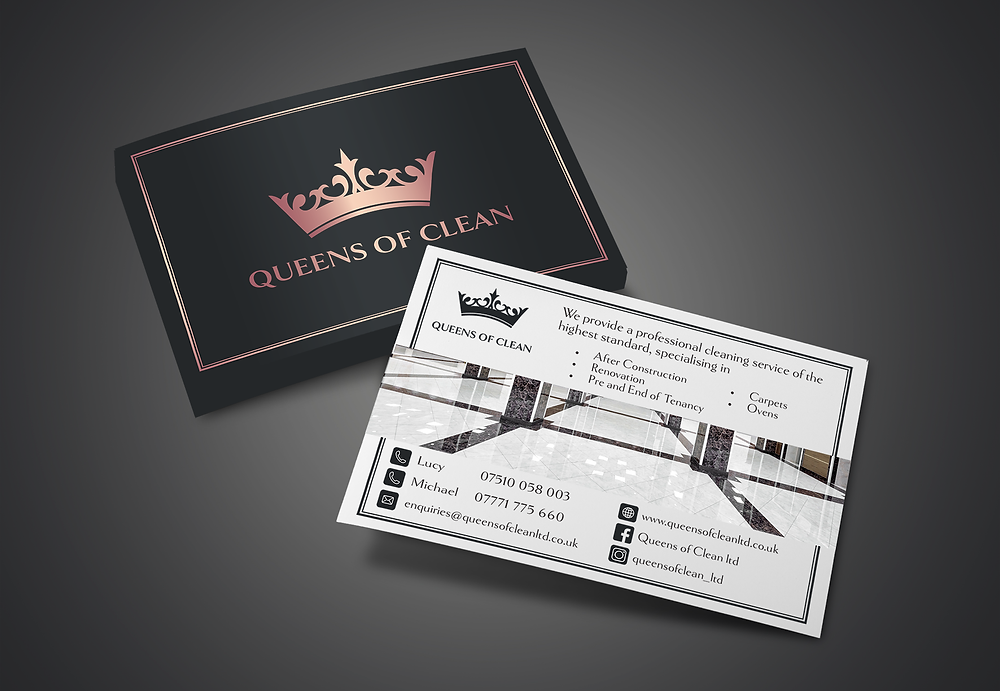 An image of some marketing postcard designs for luxury cleaning company.