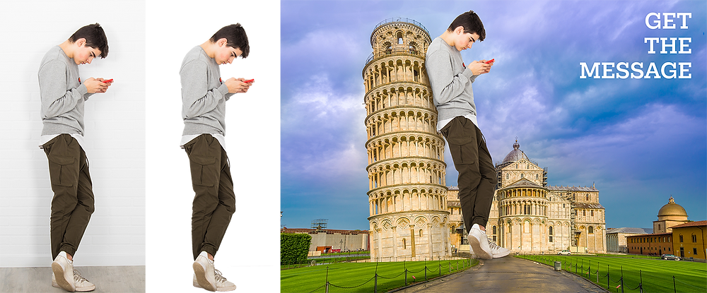 Three images showing the stages of Photoshopping a boy into a photo of the Leaning Tower of Pisa.