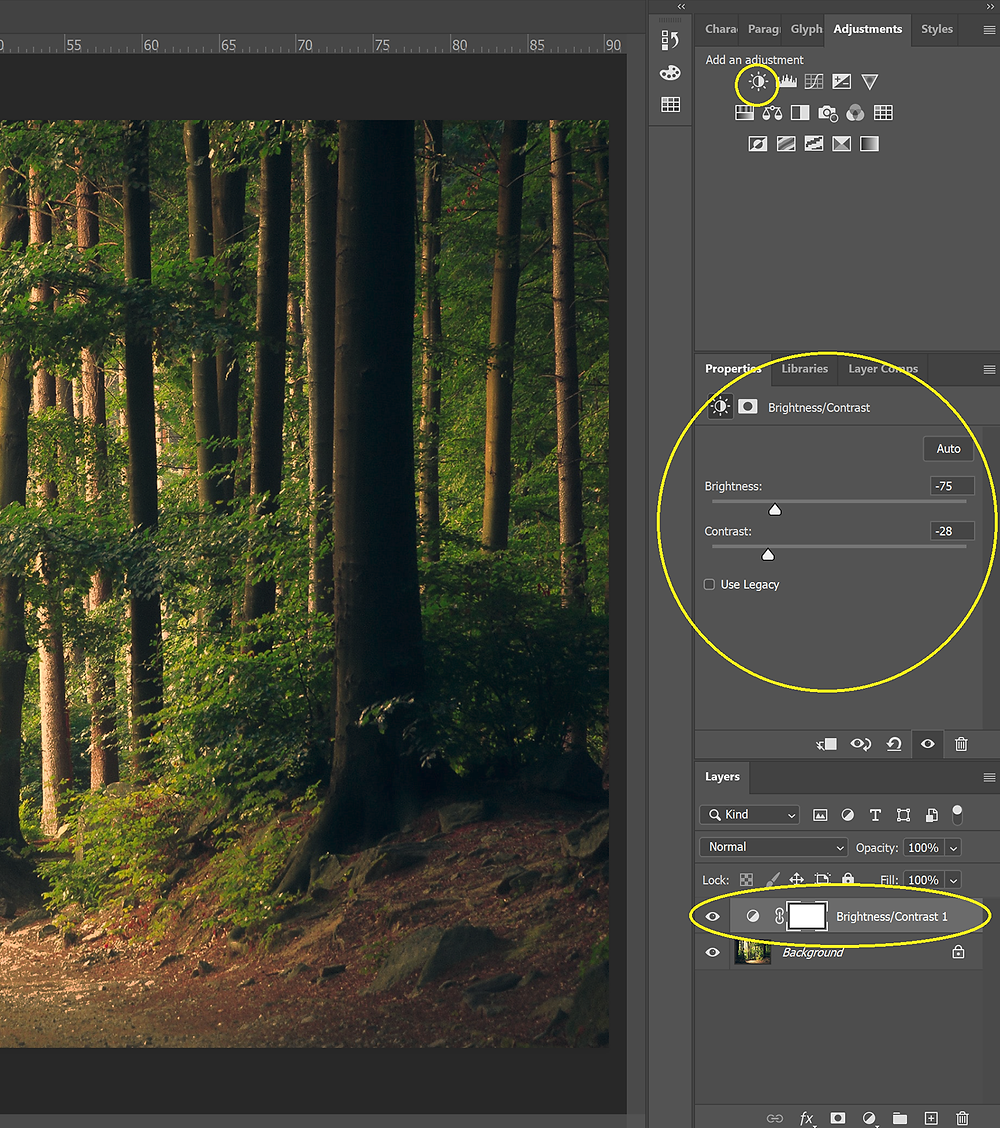 Screenshot of a Brightness/Contrast adjustment layer in Photoshop.