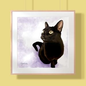 Digital portrait of a black cat.