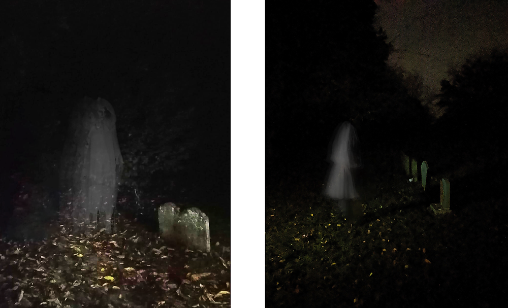 Two images of ghostly figures in a graveyard created using Photoshop.