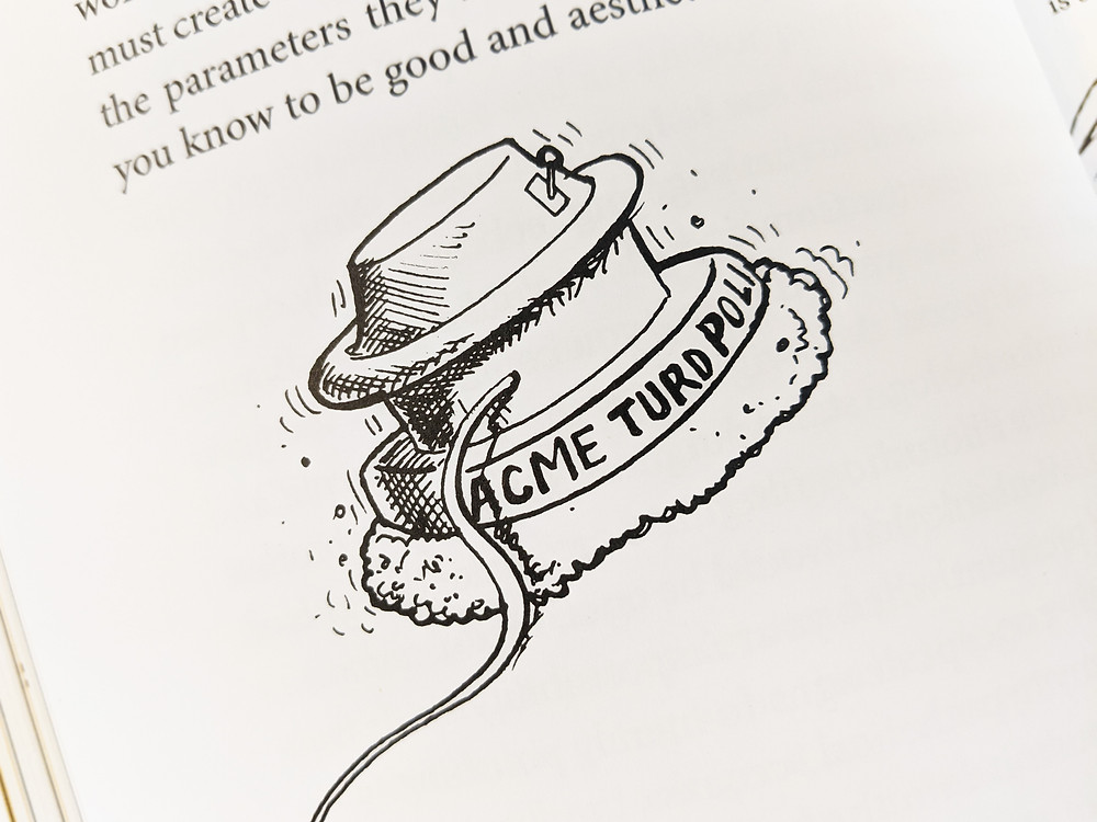 Drawing of the Acme Turd Polisher taken from Burn Your Portfolio book.