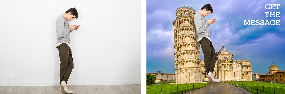 An image of a boy and an image of the same boy Photoshopped into a photo of the Leaning Tower of Pisa.