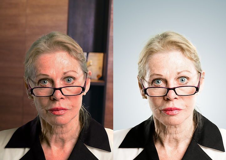 Older lady with glasses before and after
