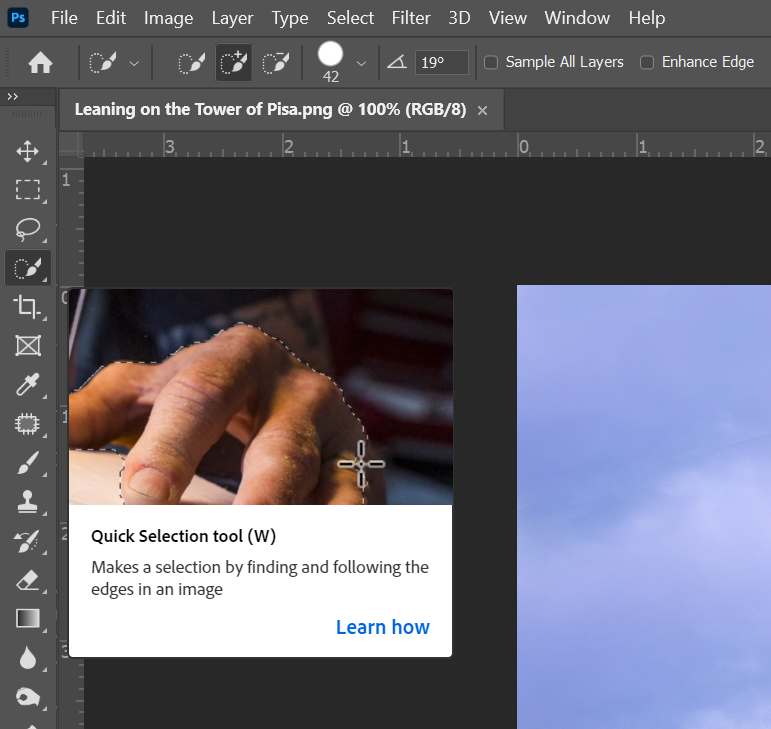 A screenshot of the quick selection tool in Photoshop.