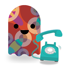 Ghost next to a ringing analogue telephone.