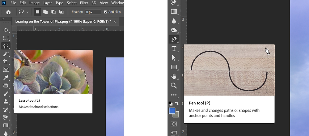 Two screenshots showing the Lasso and Pen tools in Photoshop.