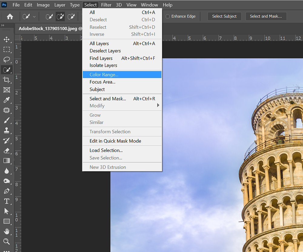 A screenshot showing how to select Colour Ranges in Photoshop.