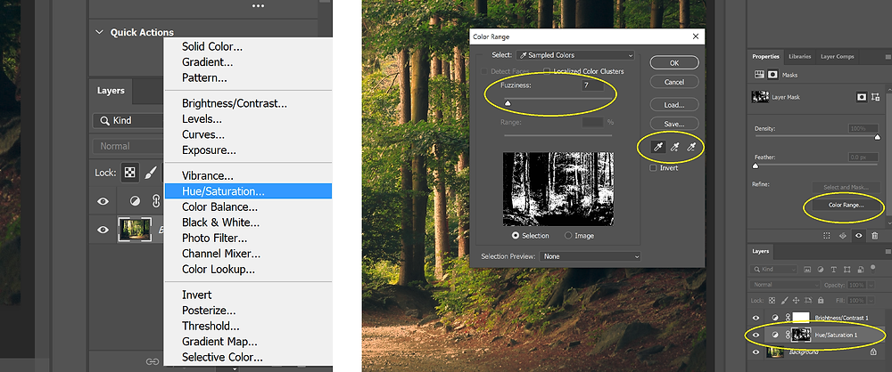 Screenshot of where to find the Hue/Saturation adjustment layer and how to use it in Photoshop.