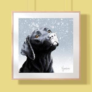 Digital painting of a black labrador.