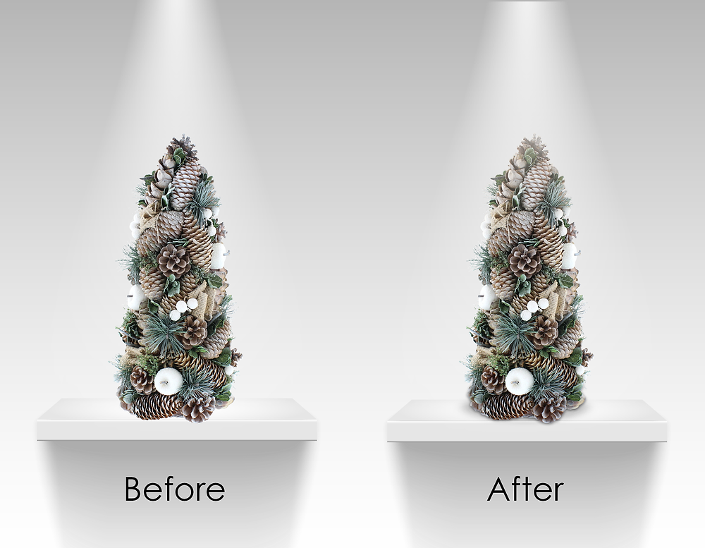 Two Christmas trees on display shelves, one has all the correct shadows and lighting, the other does not.